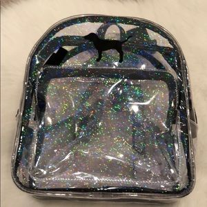 VS pink clear see through mini backpack NWOT